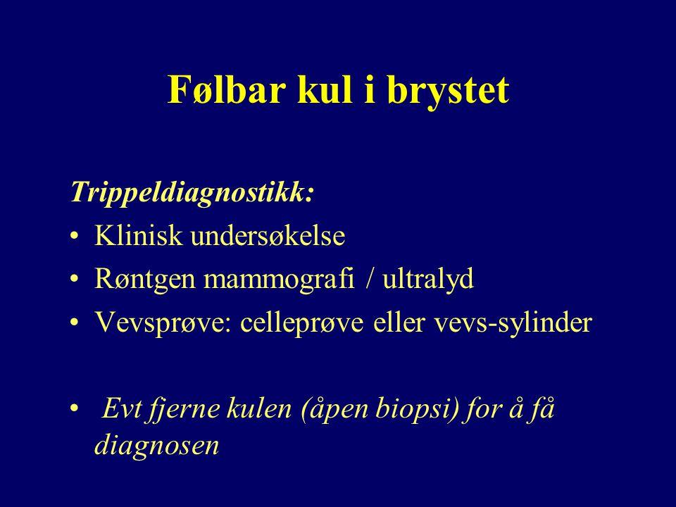 Følbar kul i brystet Trippeldiagnostikk: Klinisk undersøkelse Røntgen mammografi / ultralyd Vevsprøve: celleprøve eller vevs-sylinder Evt fjerne kulen (åpen biopsi) for å få diagnosen