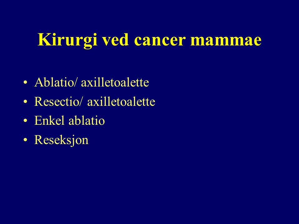 Kirurgi ved cancer mammae Ablatio/ axilletoalette Resectio/ axilletoalette Enkel ablatio Reseksjon