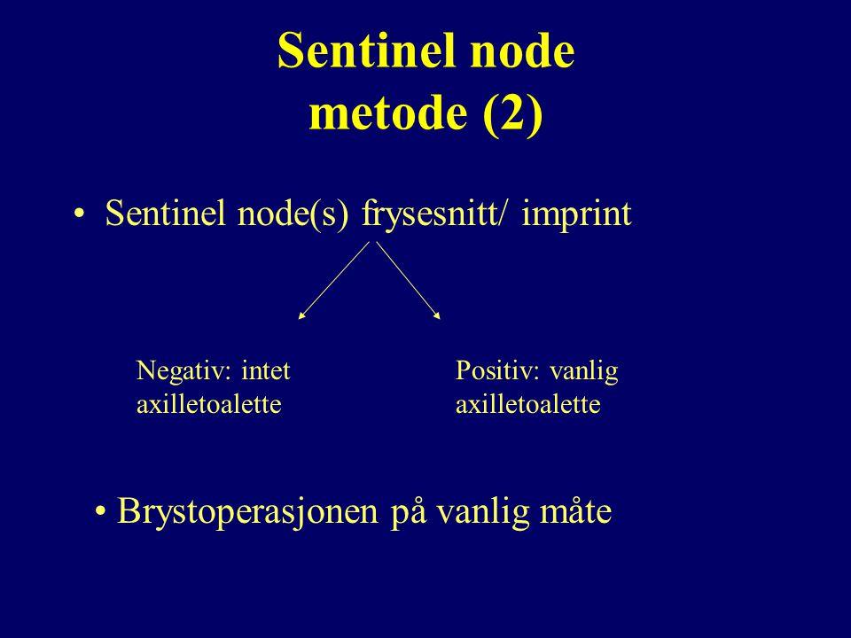 Sentinel node metode (2) Sentinel node(s) frysesnitt/ imprint Negativ: intet axilletoalette Positiv: vanlig axilletoalette Brystoperasjonen på vanlig måte