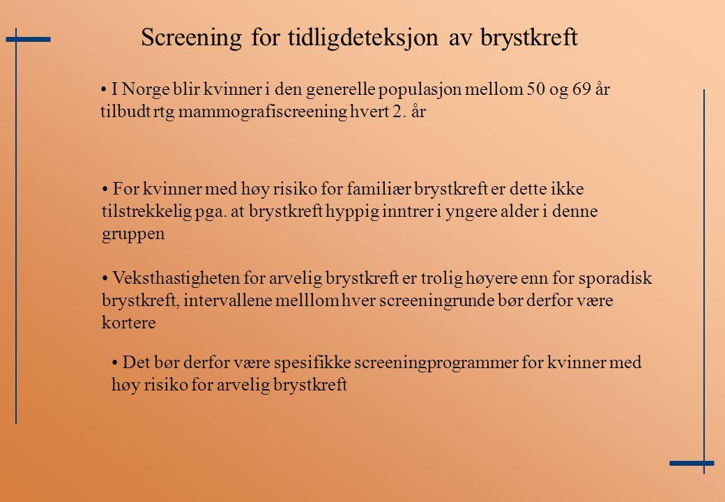 I Norge blir kvinner i den generelle populasjon mellom 50 og 69 år tilbudt rtg mammografiscreening hvert 2. år For kvinner med høy risiko for familiær
