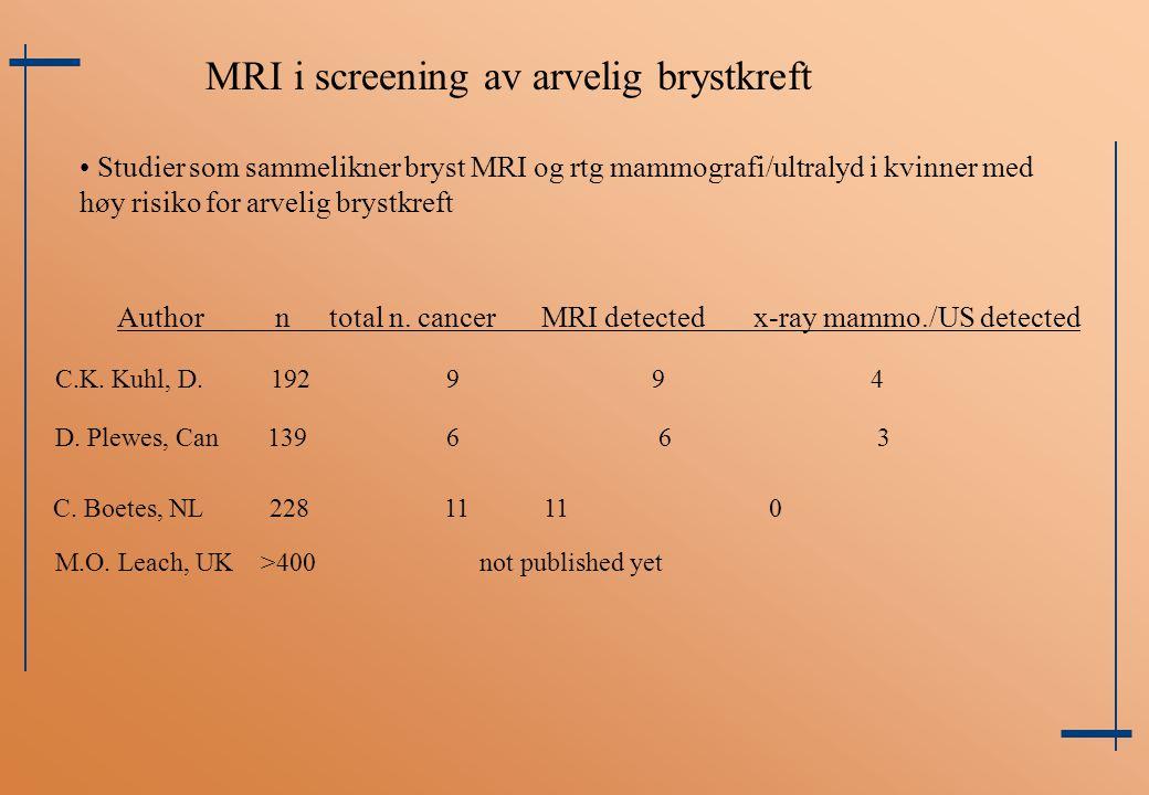 MRI i screening av arvelig brystkreft Author n total n. cancerMRI detectedx-ray mammo./US detected C.K. Kuhl, D. 192 9 9 4 C. Boetes, NL 228 11 11 0 M