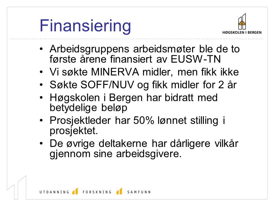 Finansiering Arbeidsgruppens arbeidsmøter ble de to første årene finansiert av EUSW-TN Vi søkte MINERVA midler, men fikk ikke Søkte SOFF/NUV og fikk m