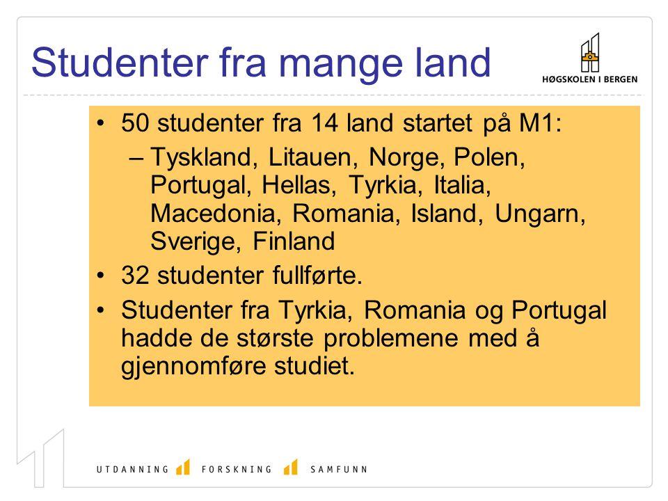 Studenter fra mange land 50 studenter fra 14 land startet på M1: –Tyskland, Litauen, Norge, Polen, Portugal, Hellas, Tyrkia, Italia, Macedonia, Romani