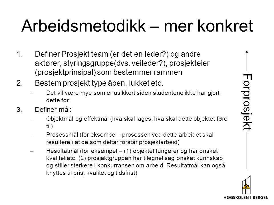 Arbeidsmetodikk – mer konkret 1.Definer Prosjekt team (er det en leder?) og andre aktører, styringsgruppe(dvs. veileder?), prosjekteier (prosjektprins