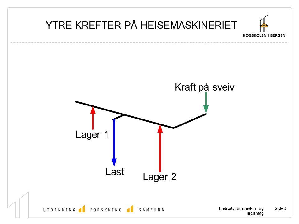 Institutt for maskin- og marinfag Side 3 Last Lager 1 Lager 2 Kraft på sveiv YTRE KREFTER PÅ HEISEMASKINERIET