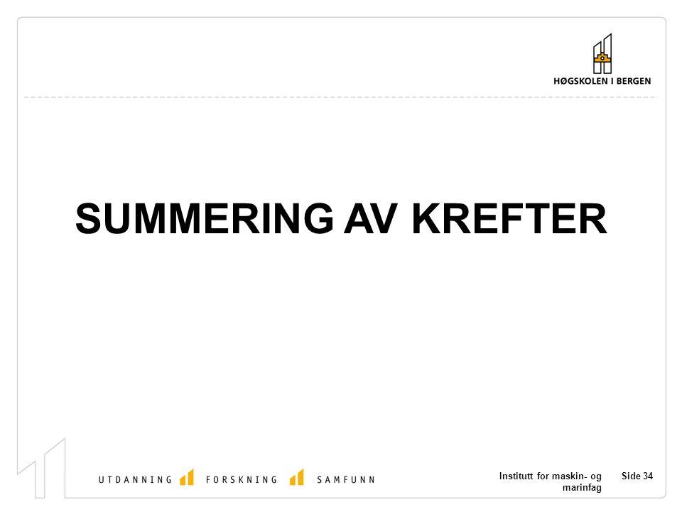 Institutt for maskin- og marinfag Side 34 SUMMERING AV KREFTER