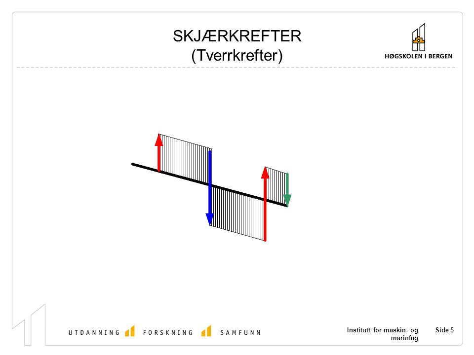 Institutt for maskin- og marinfag Side 5 SKJÆRKREFTER (Tverrkrefter)