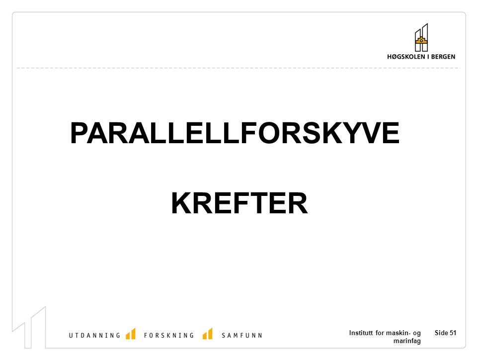 Institutt for maskin- og marinfag Side 51 PARALLELLFORSKYVE KREFTER