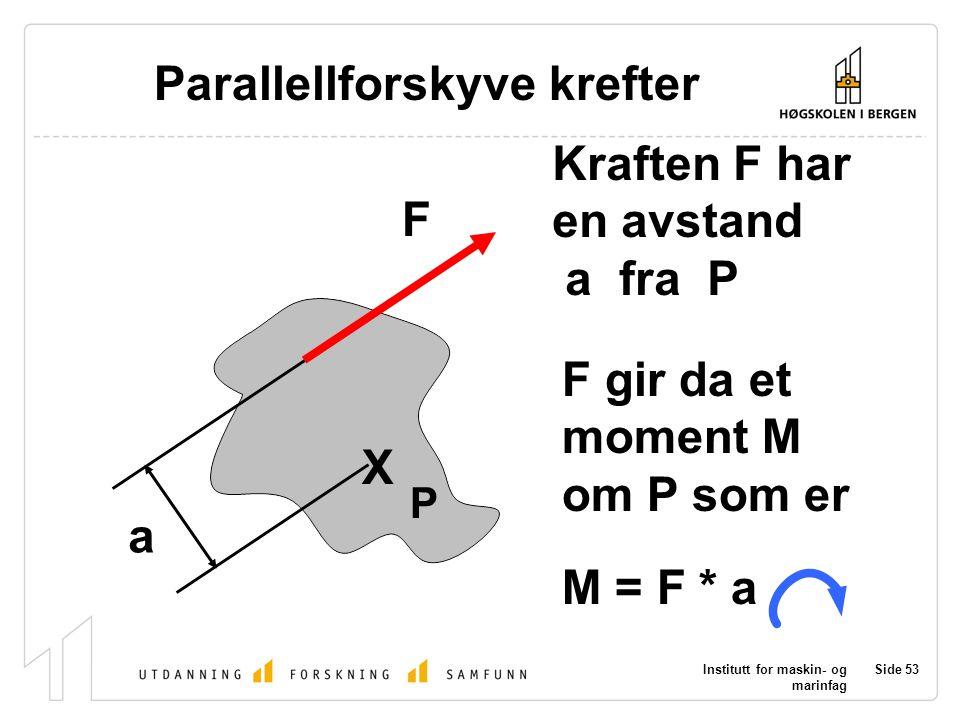 Institutt for maskin- og marinfag Side 53 P X F a Parallellforskyve krefter Kraften F har en avstand a fra P F gir da et moment M om P som er M = F *