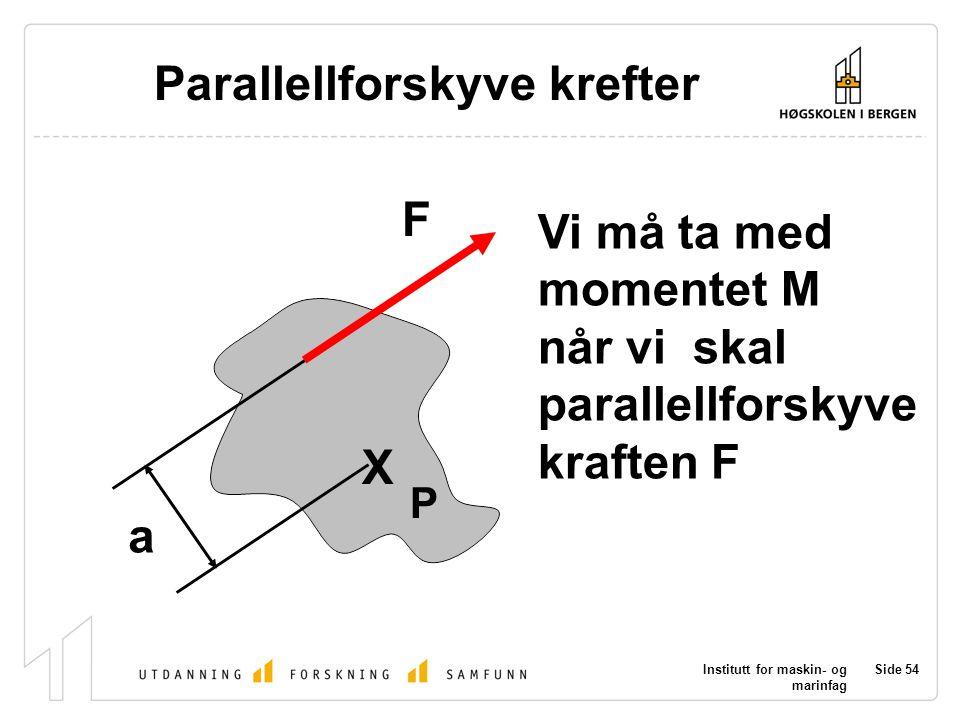 Institutt for maskin- og marinfag Side 54 P X F a Parallellforskyve krefter Vi må ta med momentet M når vi skal parallellforskyve kraften F