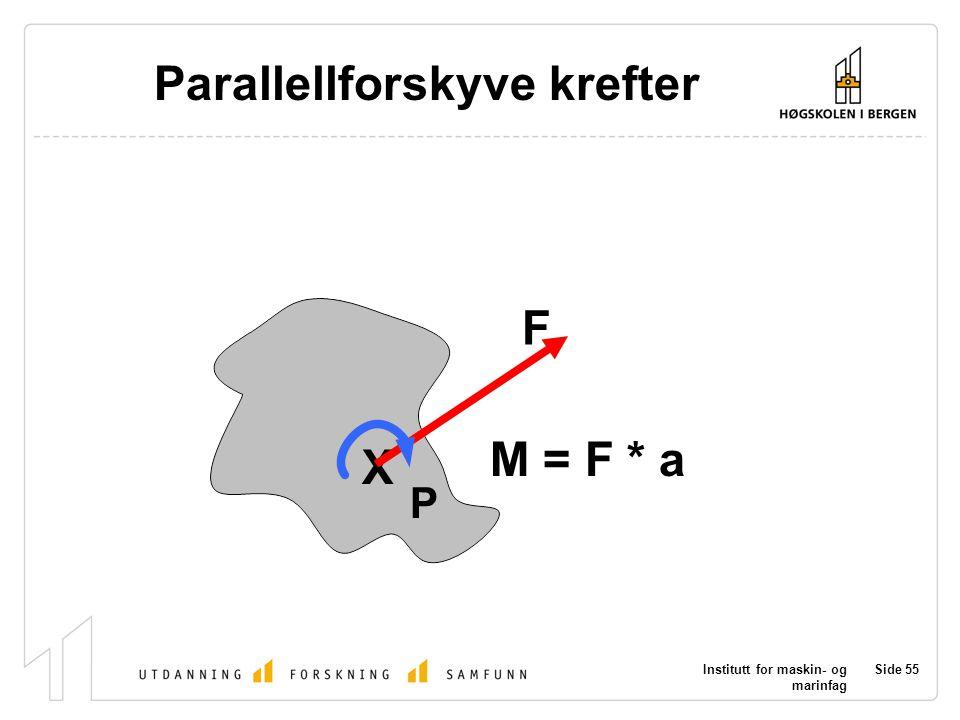 Institutt for maskin- og marinfag Side 55 P X F Parallellforskyve krefter M = F * a