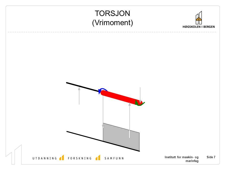 Institutt for maskin- og marinfag Side 7 TORSJON (Vrimoment)
