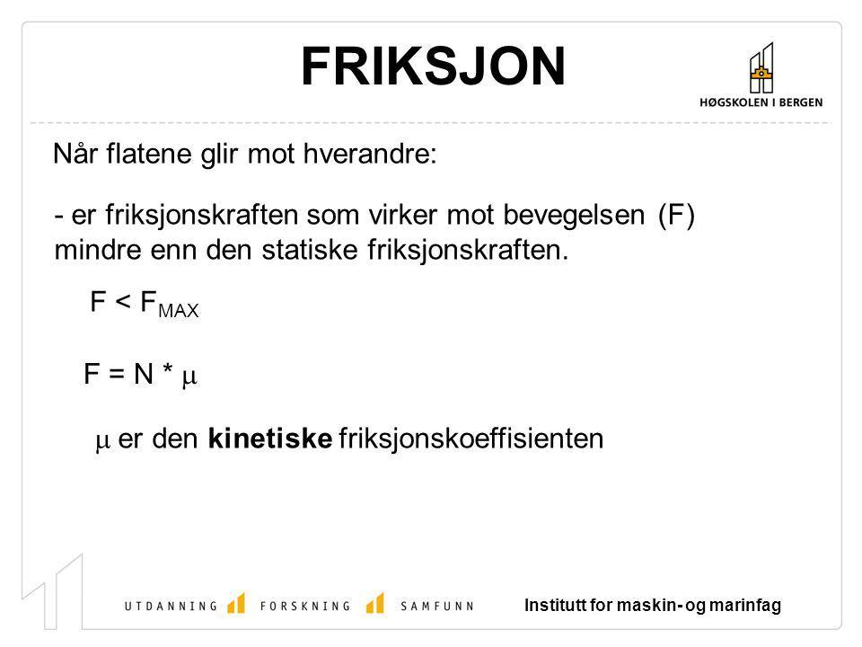 Institutt for maskin- og marinfag FRIKSJON F = N *  Når flatene glir mot hverandre: - er friksjonskraften som virker mot bevegelsen (F) mindre enn de