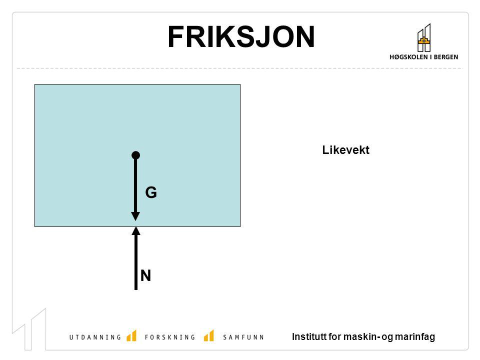Institutt for maskin- og marinfag FRIKSJON G N Likevekt