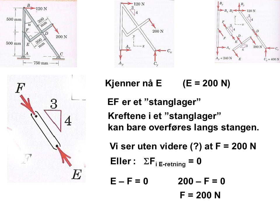 """Kjenner nå E (E = 200 N) EF er et """"stanglager"""" Kreftene i et """"stanglager"""" kan bare overføres langs stangen. Vi ser uten videre (?) at F = 200 N Eller"""