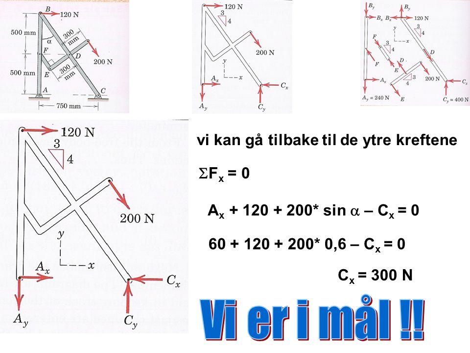 vi kan gå tilbake til de ytre kreftene  F x = 0 A x + 120 + 200* sin  – C x = 0 60 + 120 + 200* 0,6 – C x = 0 C x = 300 N