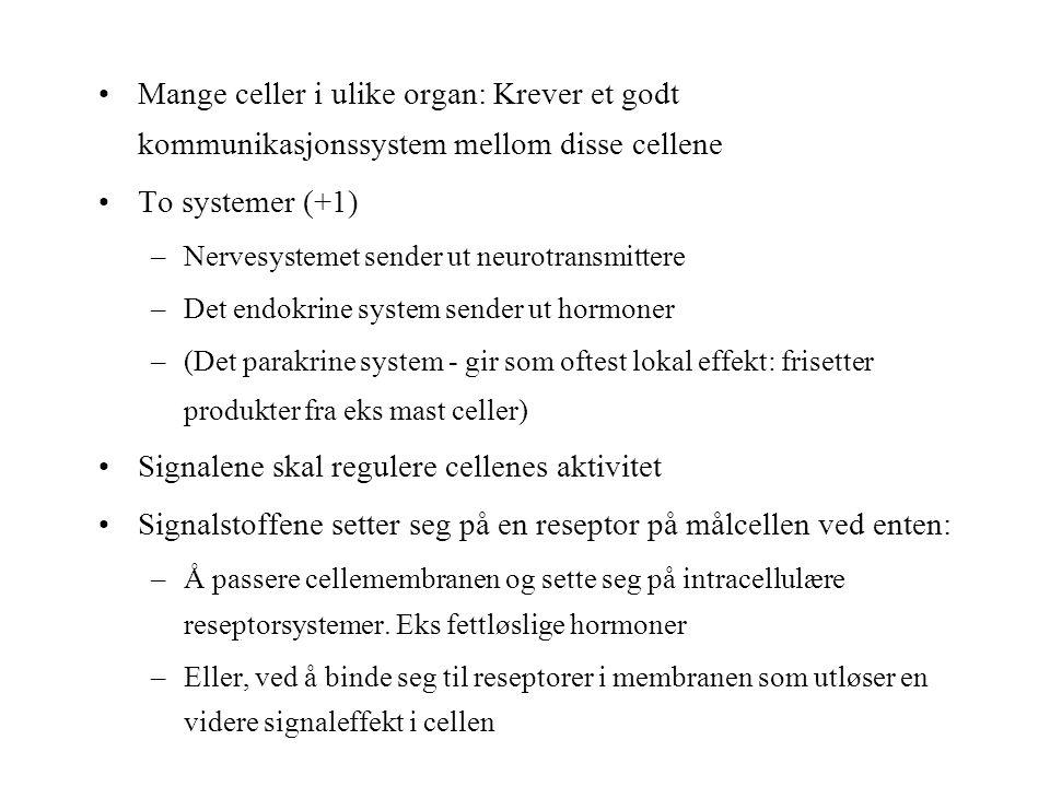Mange celler i ulike organ: Krever et godt kommunikasjonssystem mellom disse cellene To systemer (+1) –Nervesystemet sender ut neurotransmittere –Det