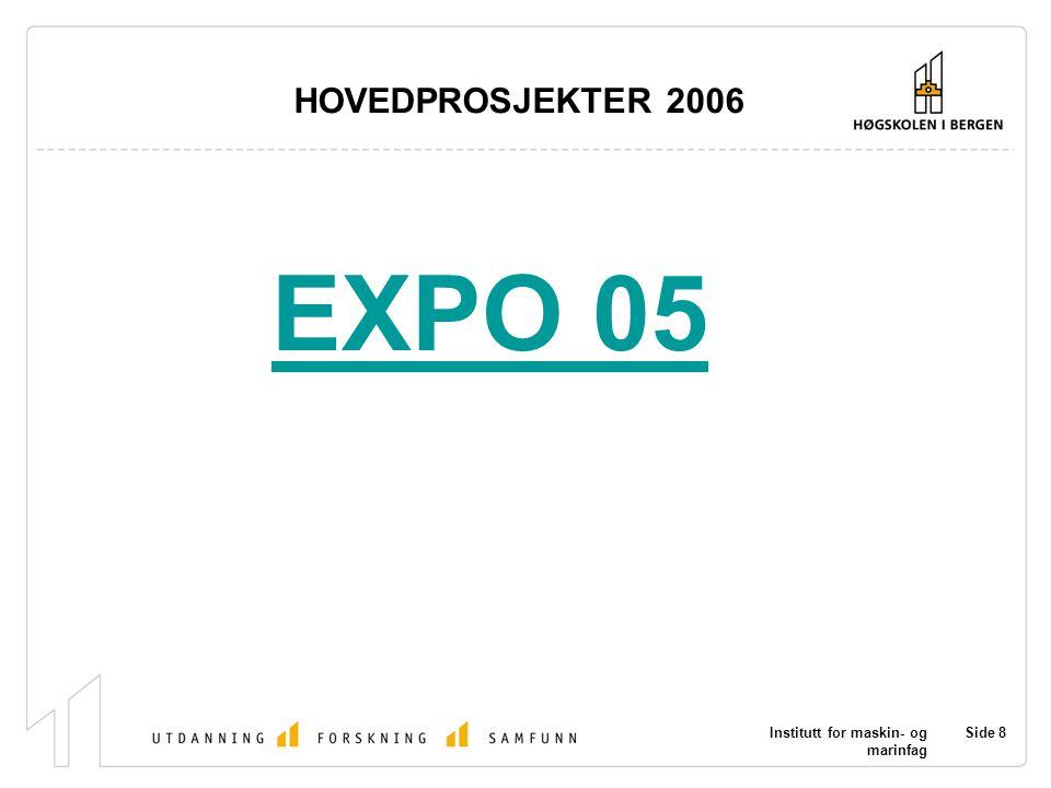 Institutt for maskin- og marinfag Side 9 HOVEDPROSJEKTER 2006 JOBB ?