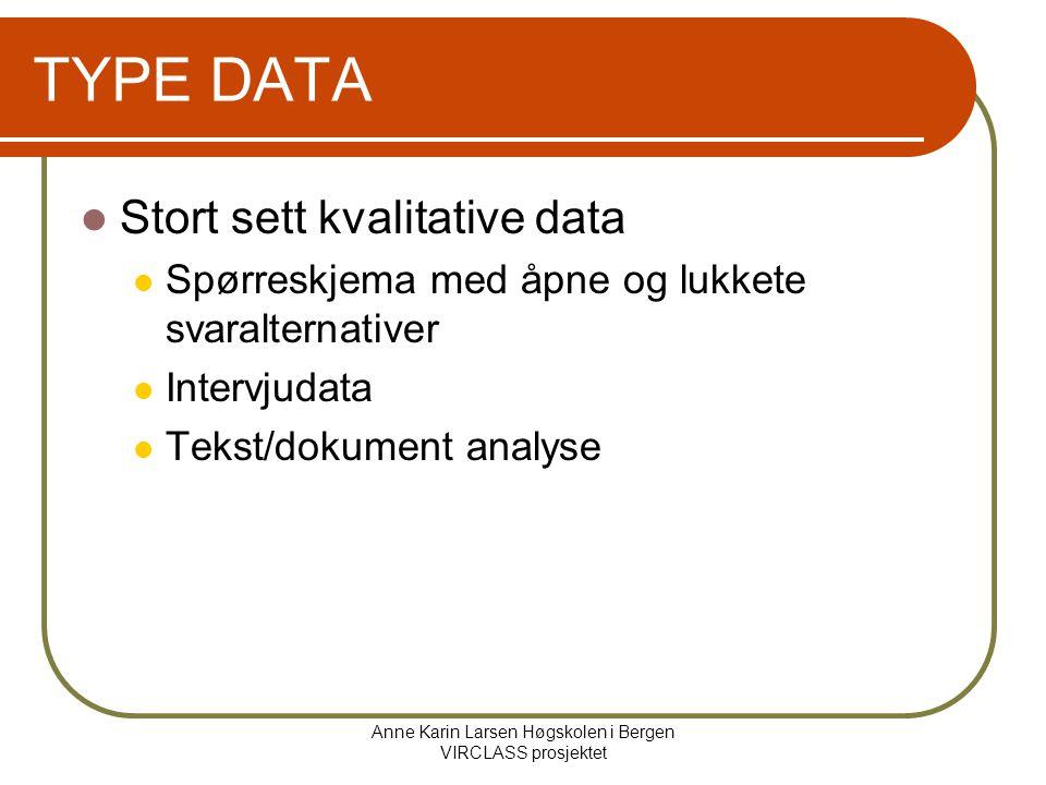 Anne Karin Larsen Høgskolen i Bergen VIRCLASS prosjektet TYPE DATA Stort sett kvalitative data Spørreskjema med åpne og lukkete svaralternativer Intervjudata Tekst/dokument analyse