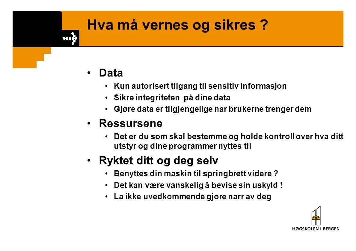 Hva må vernes og sikres ? Data Kun autorisert tilgang til sensitiv informasjon Sikre integriteten på dine data Gjøre data er tilgjengelige når brukern