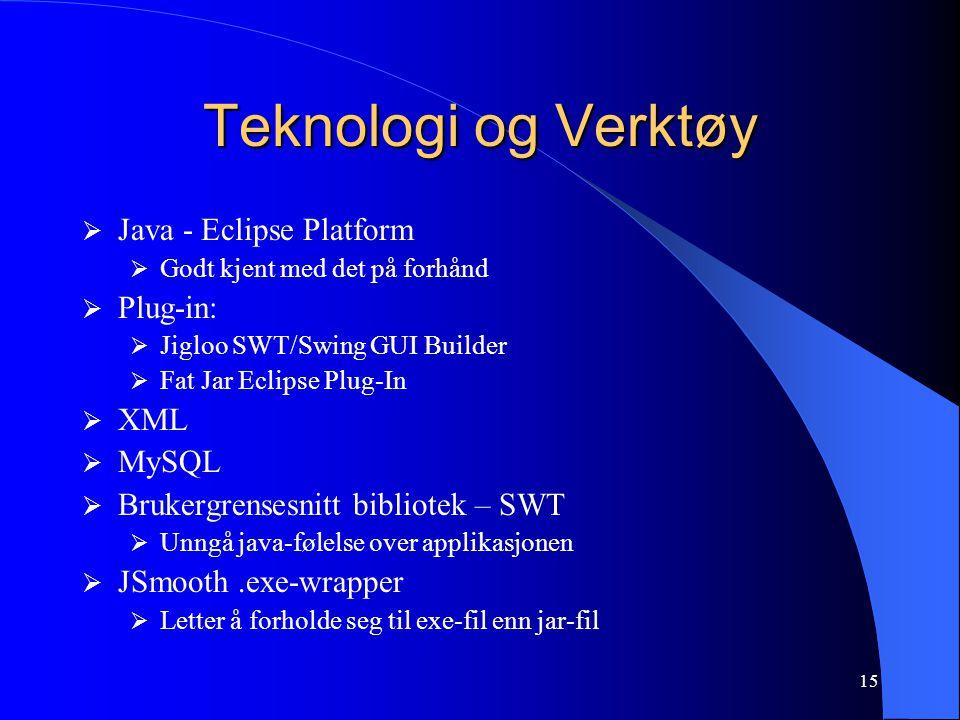 15 Teknologi og Verktøy  Java - Eclipse Platform  Godt kjent med det på forhånd  Plug-in:  Jigloo SWT/Swing GUI Builder  Fat Jar Eclipse Plug-In  XML  MySQL  Brukergrensesnitt bibliotek – SWT  Unngå java-følelse over applikasjonen  JSmooth.exe-wrapper  Letter å forholde seg til exe-fil enn jar-fil