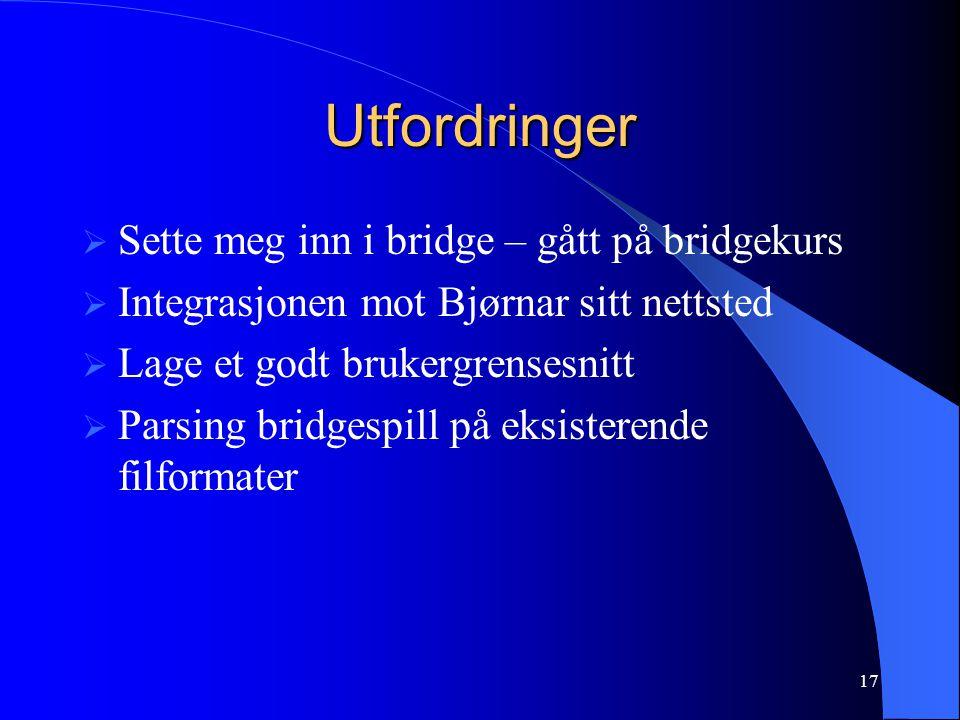 17 Utfordringer  Sette meg inn i bridge – gått på bridgekurs  Integrasjonen mot Bjørnar sitt nettsted  Lage et godt brukergrensesnitt  Parsing bridgespill på eksisterende filformater