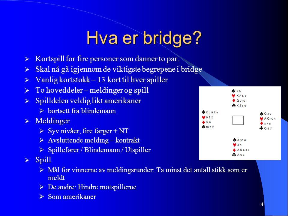 4 Hva er bridge. Kortspill for fire personer som danner to par.