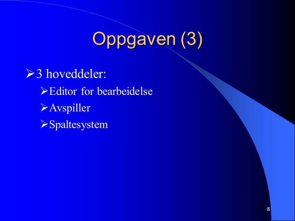 8 Oppgaven (3)  3 hoveddeler:  Editor for bearbeidelse  Avspiller  Spaltesystem