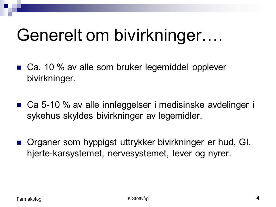 K.Slettvåg4 Farmakologi Generelt om bivirkninger…. Ca. 10 % av alle som bruker legemiddel opplever bivirkninger. Ca 5-10 % av alle innleggelser i medi