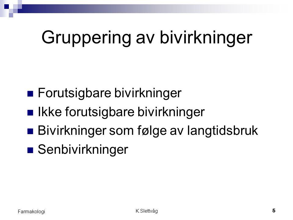 K.Slettvåg16 Farmakologi Langtids - & senbivirkninger Som følge av langtidsbruk: - Kronisk organskade - Legemiddelindusert funksjonsendring av organer.