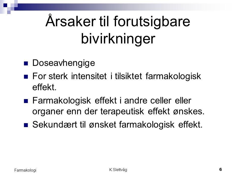 K.Slettvåg7 Farmakologi Årsaker til Ikke forutsigbare bivirkninger Immunologiske forhold = allergier Spesiell reseptorsenstivitet Spesiell legemiddelmetabolisme Spesielle biologiske forhold