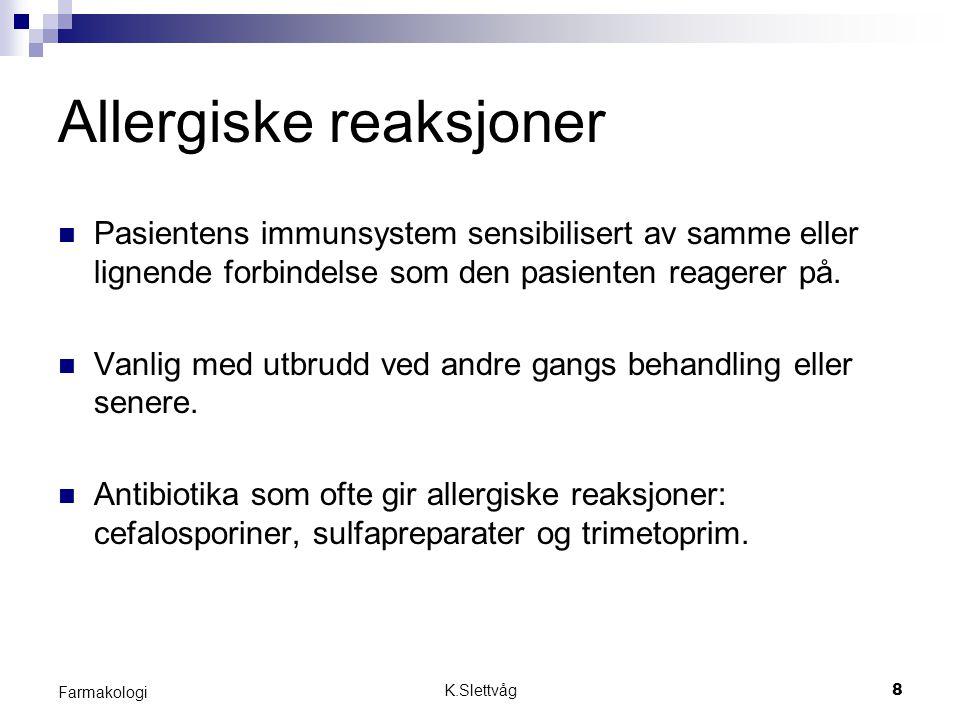 K.Slettvåg19 Farmakologi Farmakodynamiske interaksjoner Oppstår ved at legemiddel A direkte eller indirekte påvirker effekten av legemiddel B på virkestedet uten at legemidlets konsentrasjon forandres.