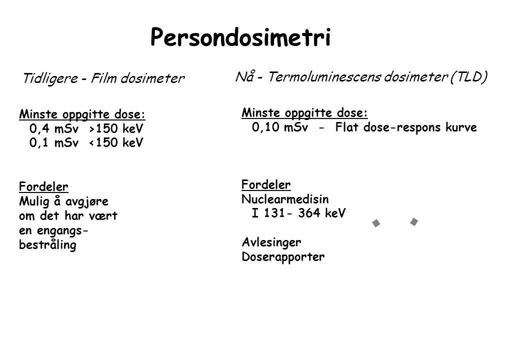 Persondosimetri Tidligere - Film dosimeter Nå - Termoluminescens dosimeter (TLD) Minste oppgitte dose: 0,4 mSv >150 keV 0,1 mSv <150 keV Fordeler Mulig å avgjøre om det har vært en engangs- bestråling Minste oppgitte dose: 0,10 mSv - Flat dose-respons kurve Fordeler Nuclearmedisin I 131- 364 keV Avlesinger Doserapporter