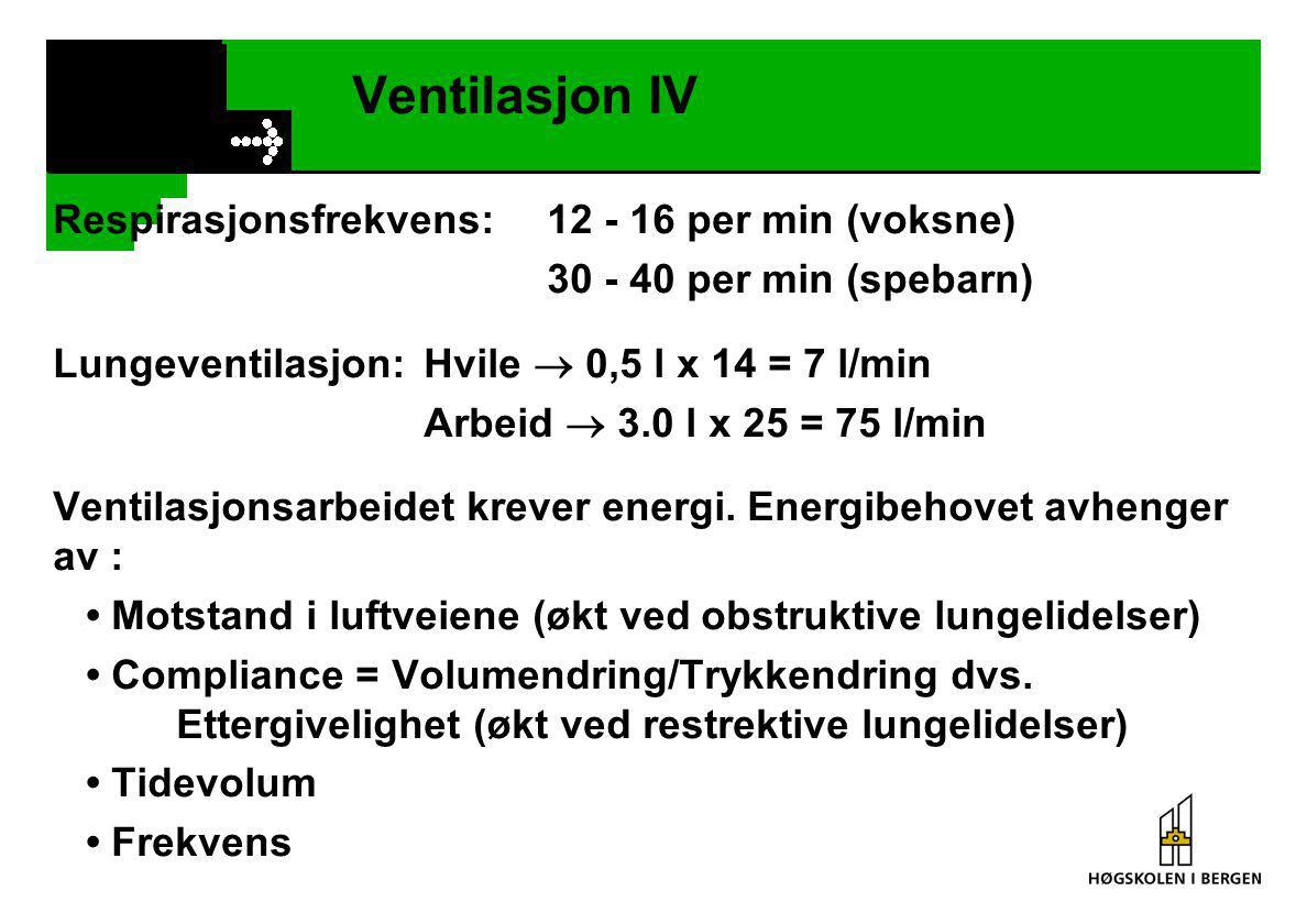 Ventilasjon IV Respirasjonsfrekvens:12 - 16 per min (voksne) 30 - 40 per min (spebarn) Lungeventilasjon:Hvile  0,5 l x 14 = 7 l/min Arbeid  3.0 l x 25 = 75 l/min Ventilasjonsarbeidet krever energi.