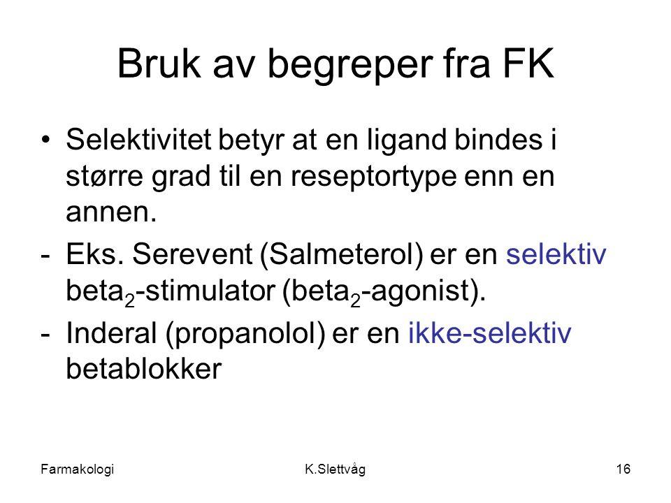FarmakologiK.Slettvåg16 Bruk av begreper fra FK Selektivitet betyr at en ligand bindes i større grad til en reseptortype enn en annen. -Eks. Serevent