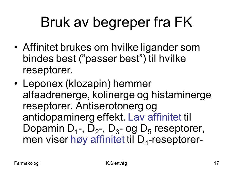 """FarmakologiK.Slettvåg17 Bruk av begreper fra FK Affinitet brukes om hvilke ligander som bindes best (""""passer best"""") til hvilke reseptorer. Leponex (kl"""