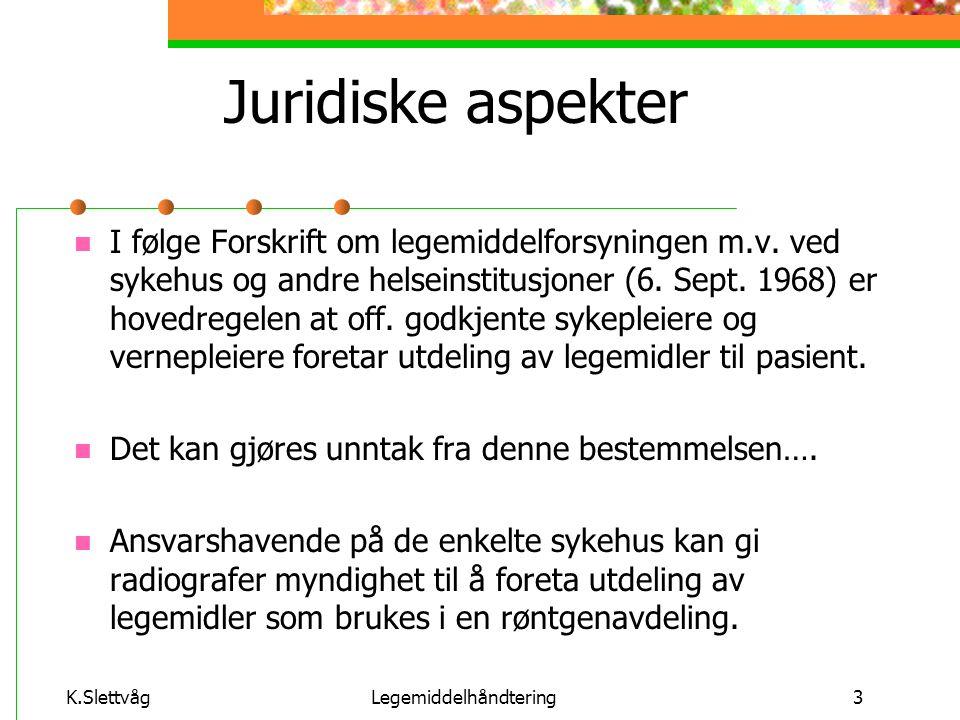 K.SlettvågLegemiddelhåndtering4 Lovverk Forskrift om legemiddelhåndtering ved sykehus og andre helseinstitusjoner.