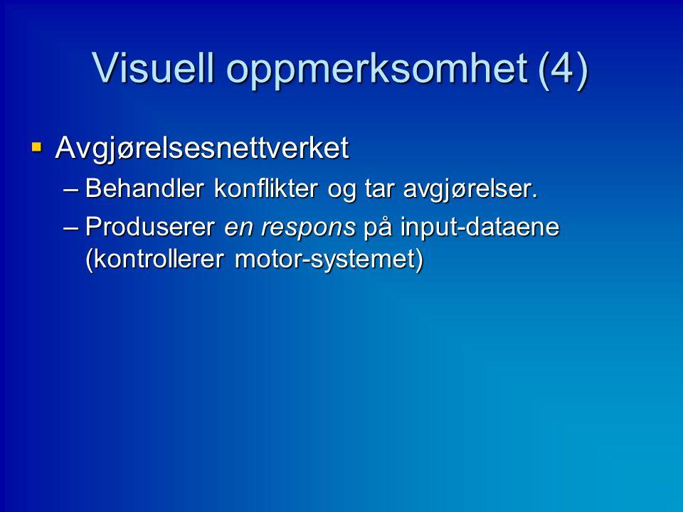 Visuell oppmerksomhet (4)  Avgjørelsesnettverket –Behandler konflikter og tar avgjørelser. –Produserer en respons på input-dataene (kontrollerer moto