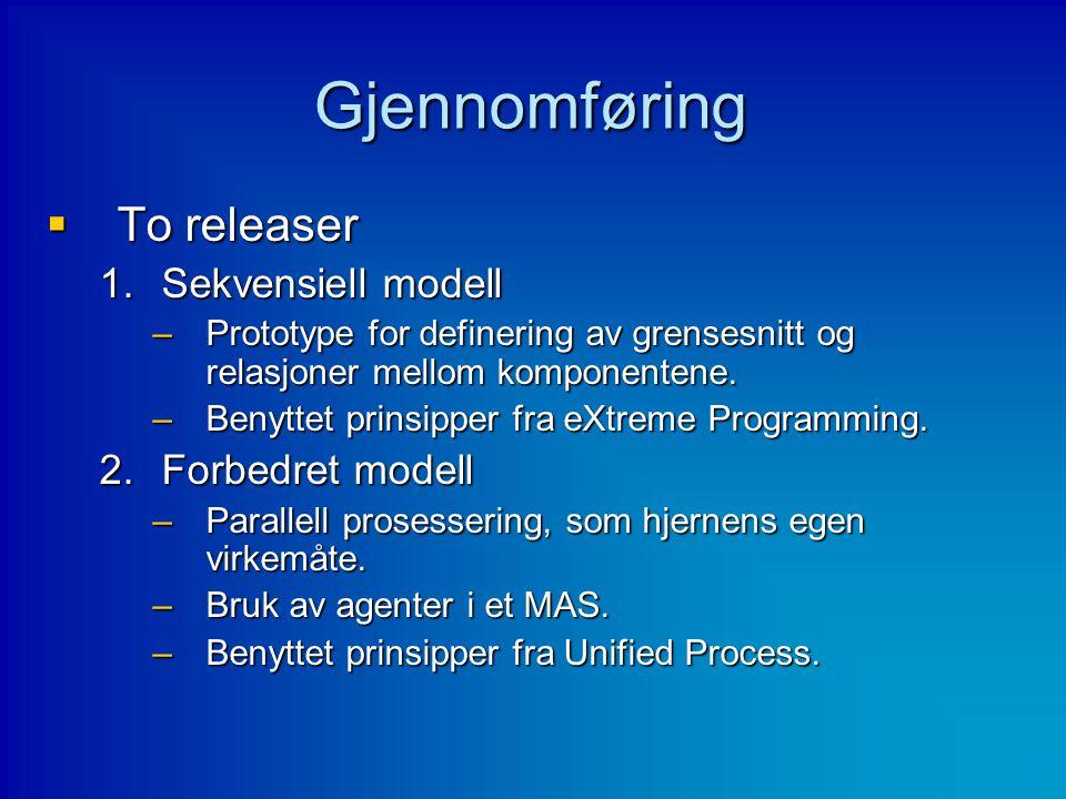 Gjennomføring  To releaser 1.Sekvensiell modell –Prototype for definering av grensesnitt og relasjoner mellom komponentene. –Benyttet prinsipper fra