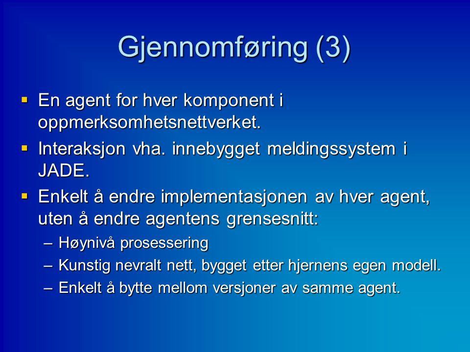 Gjennomføring (3)  En agent for hver komponent i oppmerksomhetsnettverket.  Interaksjon vha. innebygget meldingssystem i JADE.  Enkelt å endre impl