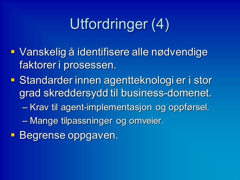 Utfordringer (4)  Vanskelig å identifisere alle nødvendige faktorer i prosessen.  Standarder innen agentteknologi er i stor grad skreddersydd til bu