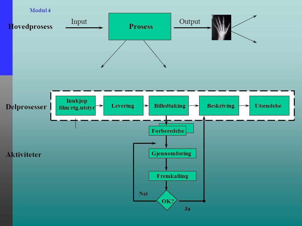 Modul 4 Hovedprosess Input Prosess Output Delprosesser Innkjøp film/rtg.utstyr LeveringBilledtakingBeskrivingUtsendelse Aktiviteter Forberedelse Gjennomføring Fremkalling OK.