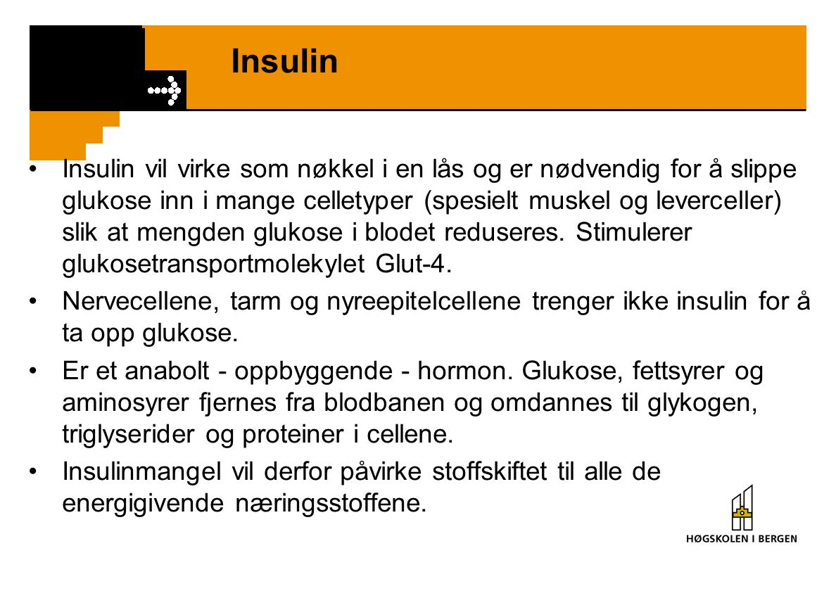 Insulin Insulin vil virke som nøkkel i en lås og er nødvendig for å slippe glukose inn i mange celletyper (spesielt muskel og leverceller) slik at men