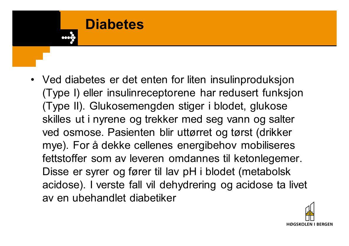 Diabetes Ved diabetes er det enten for liten insulinproduksjon (Type I) eller insulinreceptorene har redusert funksjon (Type II). Glukosemengden stige
