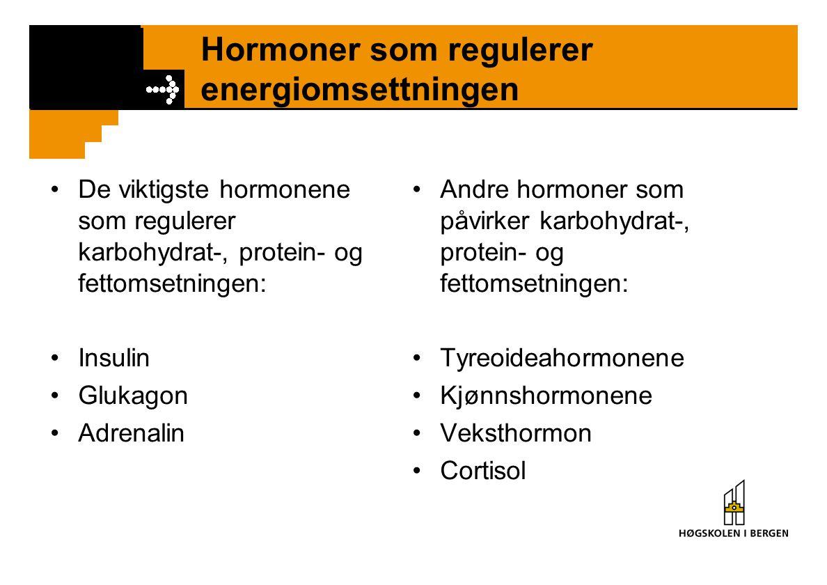 Hormoner som regulerer energiomsettningen De viktigste hormonene som regulerer karbohydrat-, protein- og fettomsetningen: Insulin Glukagon Adrenalin A