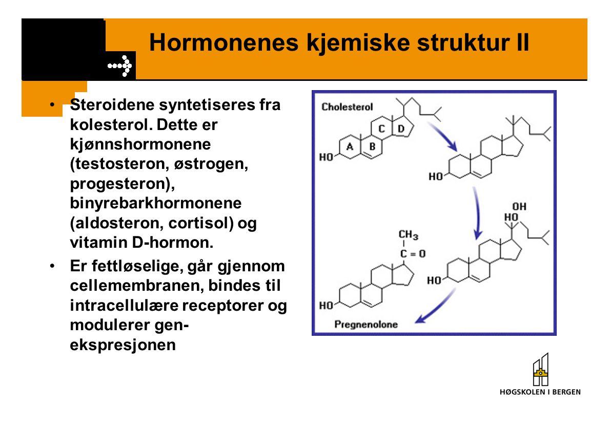 Hormonenes kjemiske struktur III Aminosyrederivatene inkluderer katekolaminene (adrenalin, noradrenalin) og tyroideahormonene (T 3 /T 4 ).
