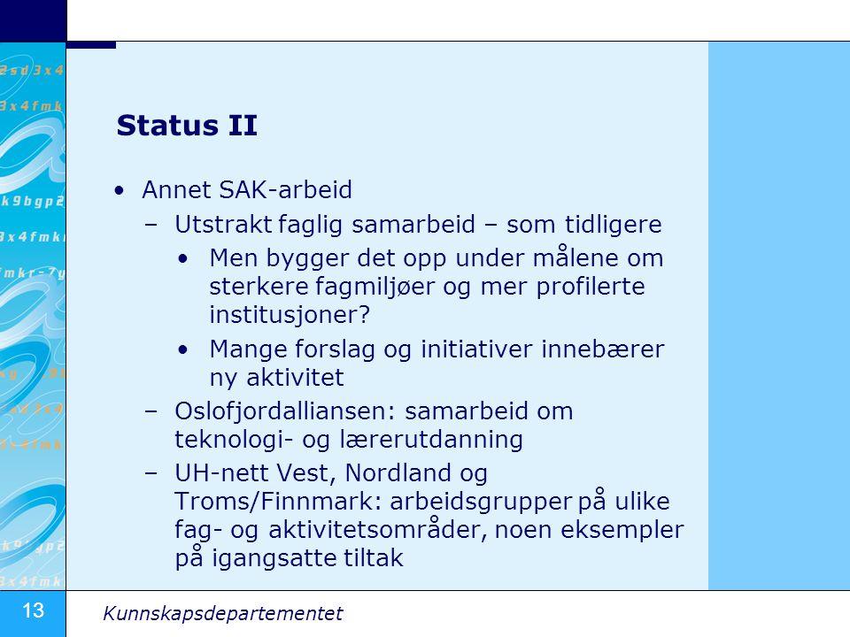 13 Kunnskapsdepartementet Status II Annet SAK-arbeid –Utstrakt faglig samarbeid – som tidligere Men bygger det opp under målene om sterkere fagmiljøer og mer profilerte institusjoner.