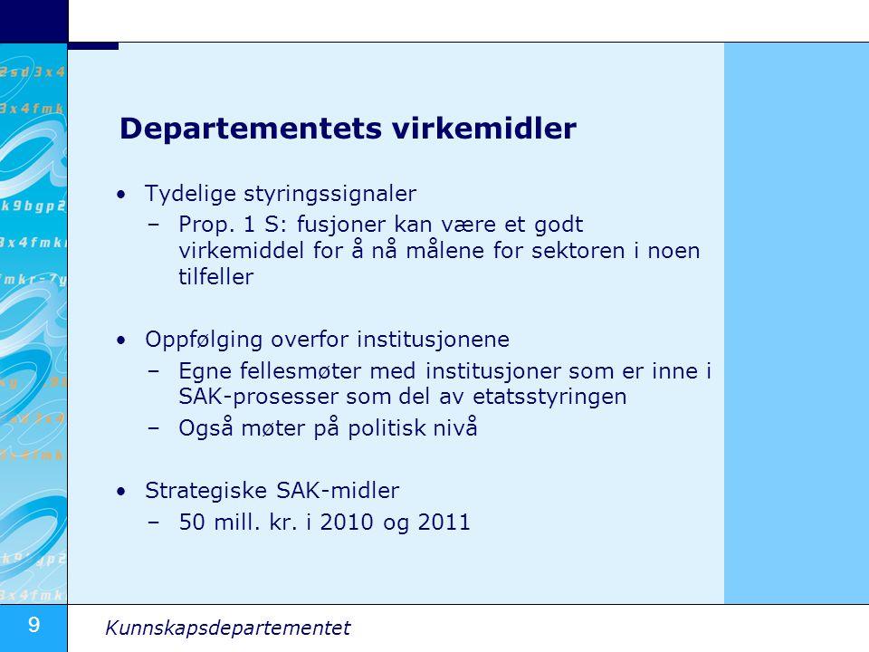 9 Kunnskapsdepartementet Departementets virkemidler Tydelige styringssignaler –Prop.