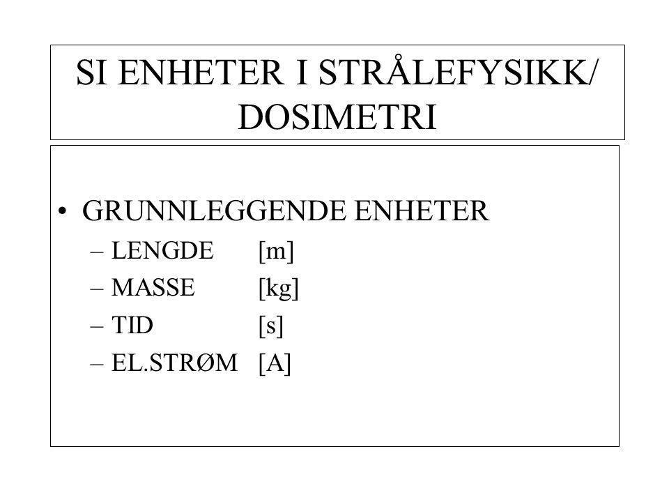 SI ENHETER I STRÅLEFYSIKK/ DOSIMETRI GRUNNLEGGENDE ENHETER –LENGDE [m] –MASSE[kg] –TID[s] –EL.STRØM[A]