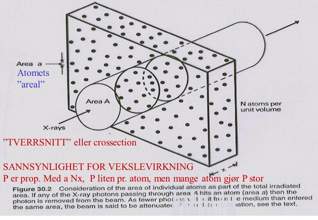 """SANNSYNLIGHET FOR VEKSLEVIRKNING P er prop. Med a Nx, P liten pr. atom, men mange atom gjør P stor """"TVERRSNITT"""" eller crossection Atomets """"areal"""""""